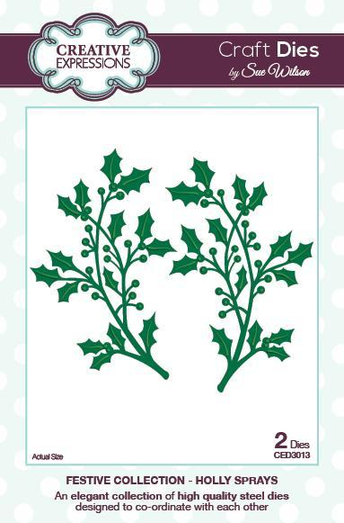 Sue wilson dies festive collection holly sprays ced3013 for Home craft expressions decor