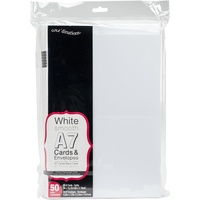 "50 Blank White A7 Cards and Envelopes 5""x7"""