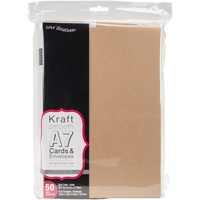 50 Kraft A7 Cards and Envelopes 5x7 175gsm Envelopes