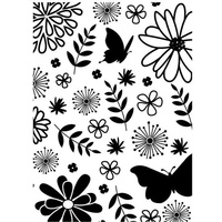 DARICE Embossing Folder Floral and Butterfly 10.5cm x 14.5cm