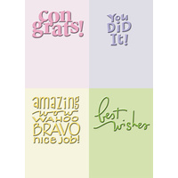 CUTTLEBUG Embossing Folder Congrats Congratulations 2x2.75 (Set of 4)