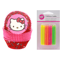 Wilton Pink Hello Kitty 150 Baking Cups plus 24 Candles