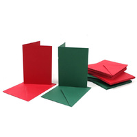 Craft UK Limited 50 Red and Green A6 Cards and C6 Envelopes