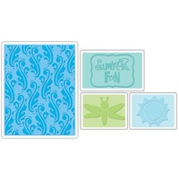 Sizzix Textured Impressions Embossing Folders 4PK Summer Fun Set 656261