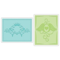 Sizzix Textured Impressions Embossing Folders 2PK Crown Flourish & Heart Wings Set 656564