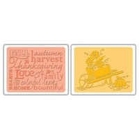 Sizzix Textured Impressions Embossing Folders 2PK Autumn Sunflowers Set 656653