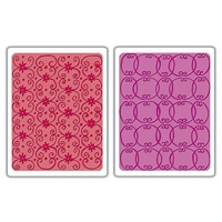 Sizzix Textured Impressions Embossing Folders 2PK Flower Vine & Twizzle Set 656799
