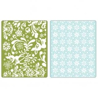 Sizzix Textured Impressions Embossing Folders 2PK by Basic Grey Dearly & Frost Set Folders 657060 FREE SHIPPING