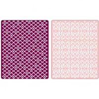 Sizzix Textured Impressions Embossing Folders 2PK by Basic Grey Diamonds & Snow Cap Set 657061