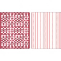 Sizzix Textured Impressions Embossing Folders 2PK by Basic Grey Peppermint Twists & Scallops Set Folders 657063