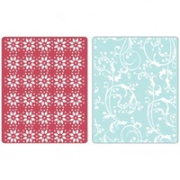 Sizzix Textured Impressions Embossing Folders 2PK by Basic Grey Sugar & Starry Night Set 657066