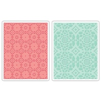 Sizzix Textured Impressions Embossing Folders 2PK Fleur Tile & Kaleidoscope Crescents Set 657397