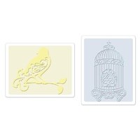 Sizzix Textured Impressions Embossing Folders 2PK - Bird & Birdcage Set 657661 FREE SHIPPING