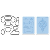 Sizzix Framelits Die Set 8PK w/Textured Impressions - Ornament Set 657974