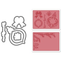 Sizzix Framelits Die Set 5PK w/Textured Impressions Pinecone & Ornament Set 657975