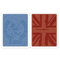Sizzix Tim Holtz Texture Fades London & Union Jack Set of 2 Folders 658578 FREE SHIPPING