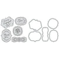 Sizzix Framelits Die Set 5PK with Stamps - Wedding Expressions 658939 FREE SHIPPING