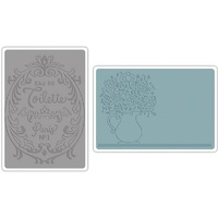 Sizzix Textured Impressions Embossing Folders 2PK Flowers & Perfume Set
