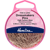 Pins Dressmaker Hardened & Tempered 350 Pins x 0.60mm x 30mm 25gm