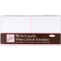 50 Blank White Cards and Envelopes 5 1/2x5 1/2 Square 240gsm