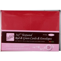 50 Blank Textured Red and Green Cards and Envelopes 5x7 240gsm