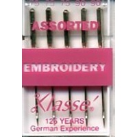 Klasse Machine Embroidery Needles Assorted 75/11 and 90/14