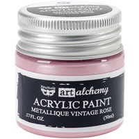 Finnabair Art Alchemy Acrylic Paint 50ml Metallique Vintage Rose