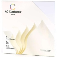 American Crafts 12x12 CARDSTOCK 60 Sheets 216gsm White