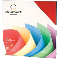 American Crafts 12x12 CARDSTOCK 60 Sheets 216gsm Primaries
