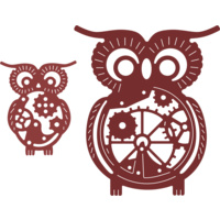 Cheery Lynn Designs B383 Owls with Gears (Set of 2) Speampunk Series FREE SHIPPING