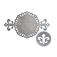 Cheery Lynn Designs Die B681 Fleur De Lis Tag 2 Piece Die Set