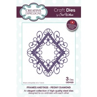 Sue Wilson Dies Frames and Tags Collection Peony Diamond Die CED4329