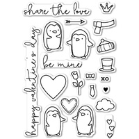 Poppystamps Stamps Be Mine Penguins clear stamp set CL417