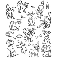 Sizzix Tim Holtz Stamp Set 19PK Crazy Mini Cats & Dogs CMS272