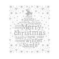 Couture Creations Embossing Folder 5x7 Ho Ho Ho It's Christmas Message In A Tree