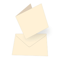 50 Cream Square Cards 240gsm and Envelopes 13.5cm x 13.5cm (5.3 x 5.3)
