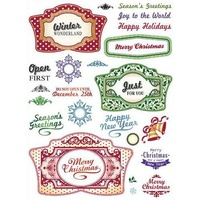 Justrite Clear Stamps Christmas Vintage Labels 27pc