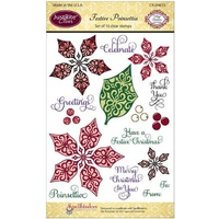 Justrite Clear Stamps - Festive Poinsettia 16pcs FREE SHIPPING