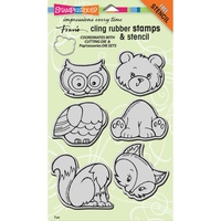 Stampendous Fran's Cling Stamps & Stencil Woodland Friends
