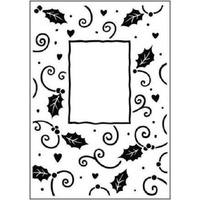 Crafts-Too Embossing Folder Christmas Holly Frame 4.25x5.5