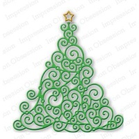 Impression Obsession Die Swirly Christmas Tree DIE091P