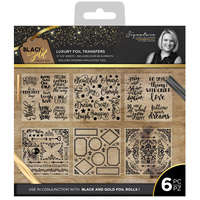 Sara Signature Collection Flutterby 6x6 Foil Transfers - Black and Gold