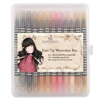 Watercolour Dual-tip Pens (12pk) - Santoro - Neutrals