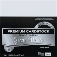 Core'dinations Value Pack Cardstock 12X12 20 Sheets White Smooth Texture