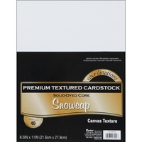 Core'dinations Value Pack Cardstock 8.5x11 40 Sheets Snowcap White Textured