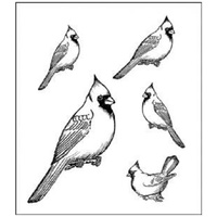 Heartfelt Creations Cling Stamps Birds Cardinal Family