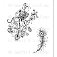 Heartfelt Creations Cling Stamps Feathery Peacock FREE SHIPPING