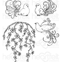 Heartfelt Creations Cling Stamps Flowering Dogwood & Doves FREE SHIPPING