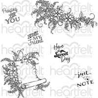 Heartfelt Creations Cling Stamps Sweet Lilac Scroll & Notes