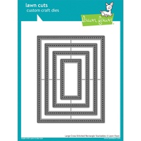 Lawn Fawn Cuts Large Cross Stitched Rectangle Stackables Dies LF1178 FREE SHIPPING